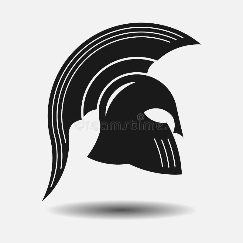 Capacete espartano do ícone, guerreiro grego da silhueta, gladiador ilustração royalty free
