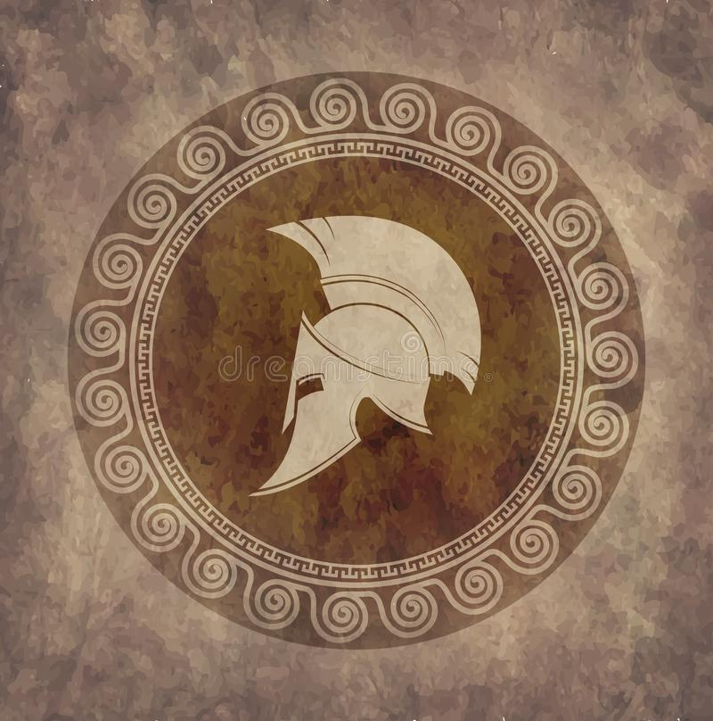 Capacete espartano um ícone no papel velho no grunge do estilo ilustração stock