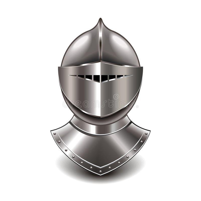 Capacete medieval do cavaleiro no vetor branco ilustração do vetor