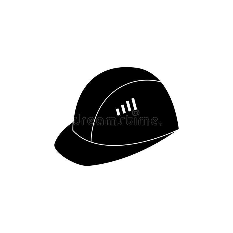Capacete ou chapéu do equipamento de segurança do trabalho para o ícone preto e branco da segurança industrial ilustração do vetor