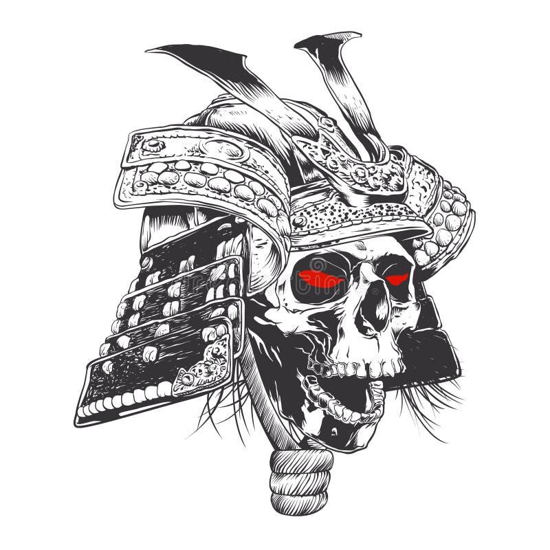 Capacete preto e branco do samurai com crânio ilustração stock