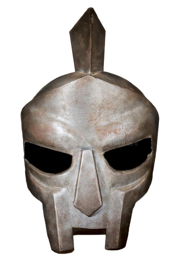 Capacete romano do gladiador Isolado imagem de stock