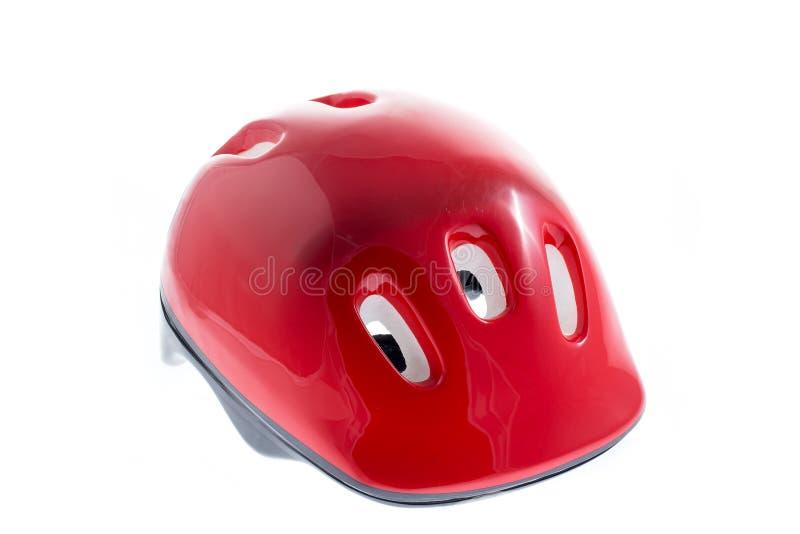 Capacete vermelho para a criança imagens de stock