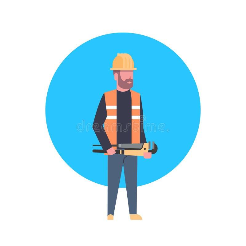Capacete vestindo de Icon Builder Man do trabalhador da construção ilustração do vetor