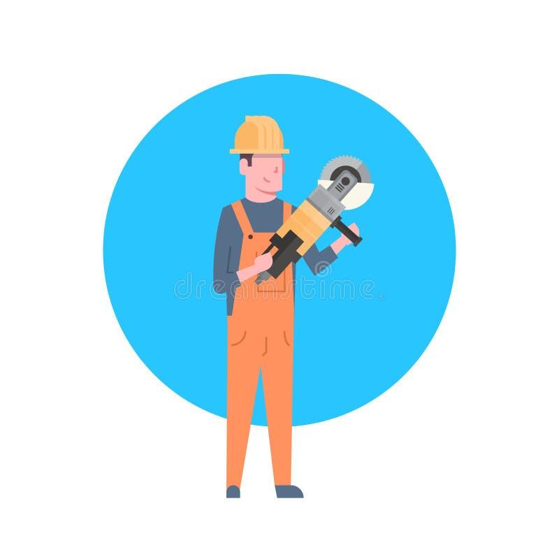 Capacete vestindo de Icon Builder Man do trabalhador da construção ilustração stock