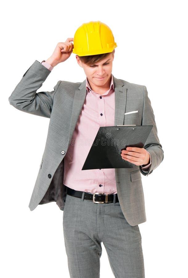 Capacete vestindo do homem de negócios fotos de stock