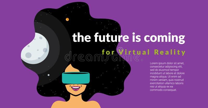 Capacete vestindo do vr da mulher entusiasmado para a simulação do espaço e o jogo digital ilustração stock