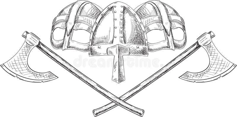 Capacetes e machados de Viking fotos de stock royalty free