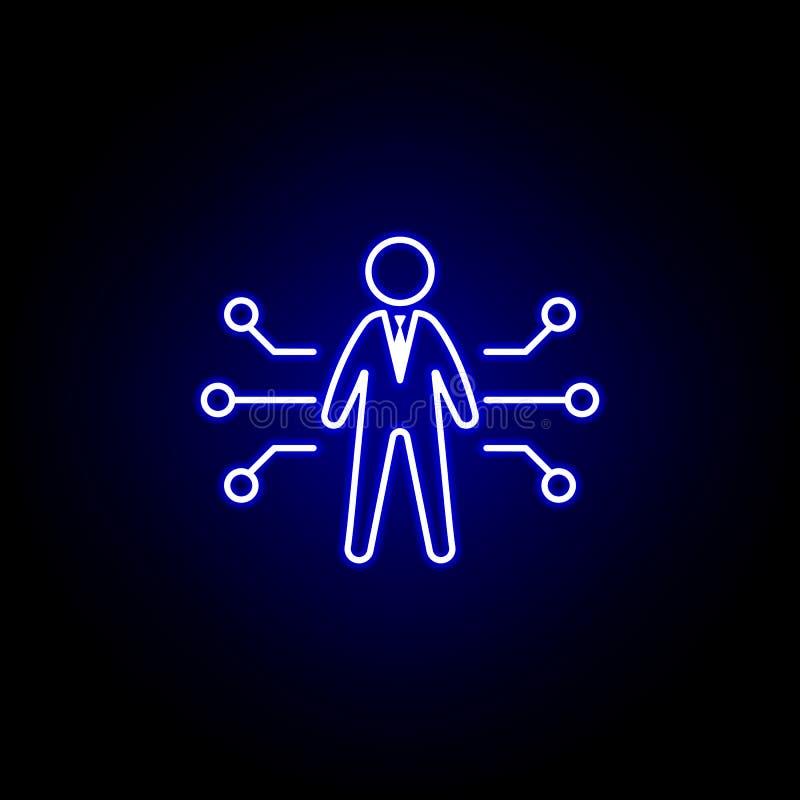 Capacidad, potencial, icono del trabajador Elementos del ejemplo de los recursos humanos en el icono de ne?n del estilo Las muest ilustración del vector