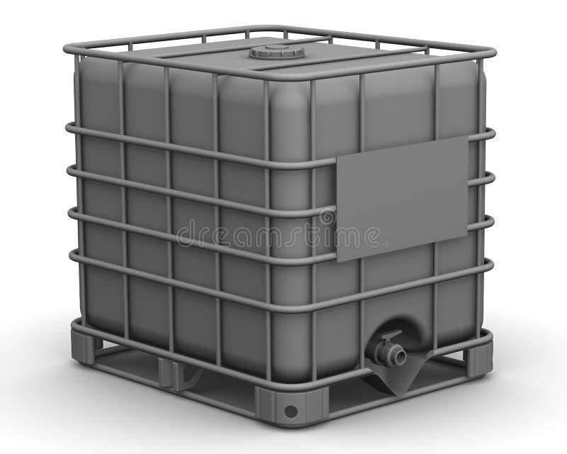 A capacidade cúbica (recipiente plástico) Recipiente de maioria intermediário ilustração stock