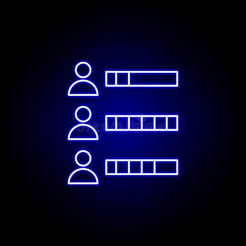 Capaciteit, vaardigheden, zakenliedenpictogram Elementen van Personeelsillustratie in het pictogram van de neonstijl De tekens en vector illustratie