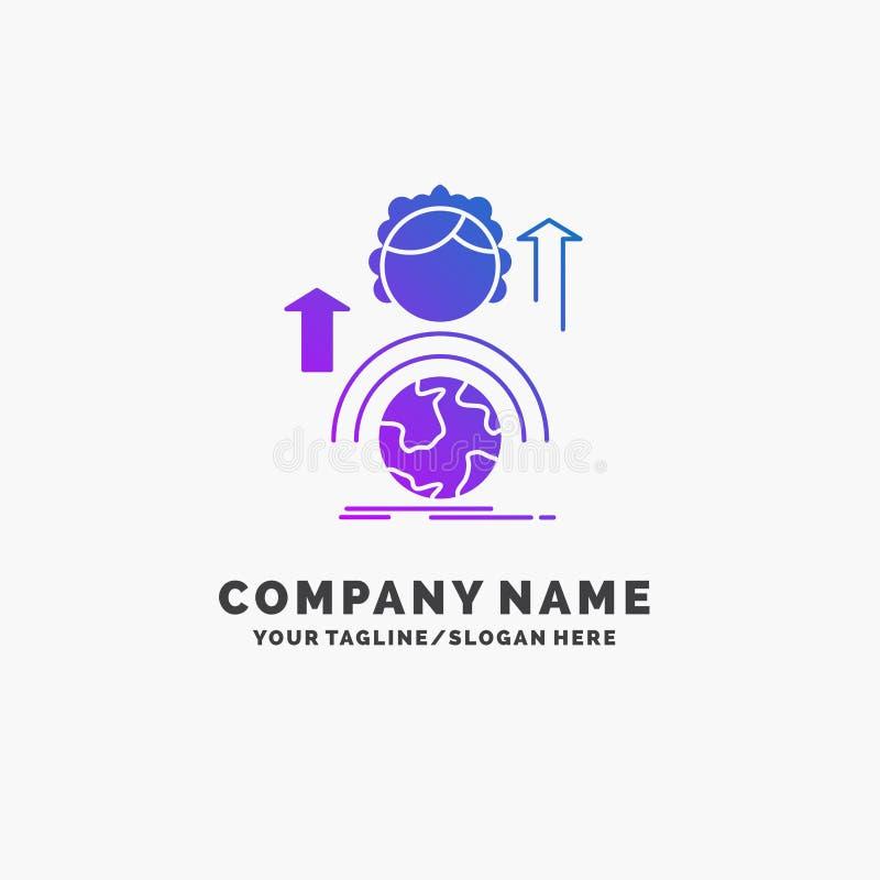 capaciteiten, ontwikkeling, Vrouwelijke, globale, online Purpere Zaken Logo Template Plaats voor Tagline royalty-vrije illustratie