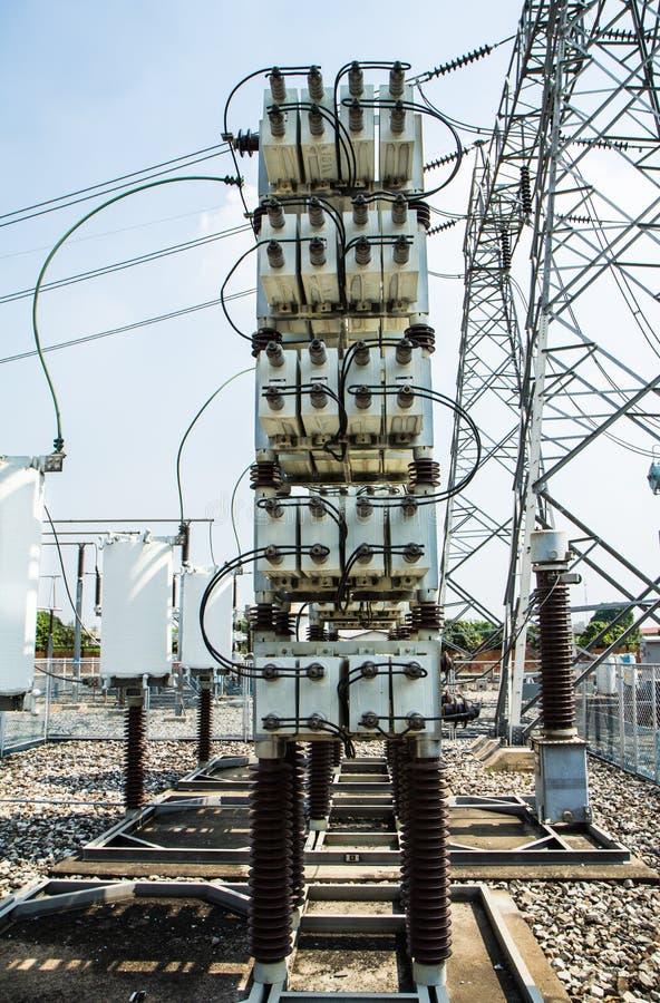 Capacitor bank high voltage stock photos
