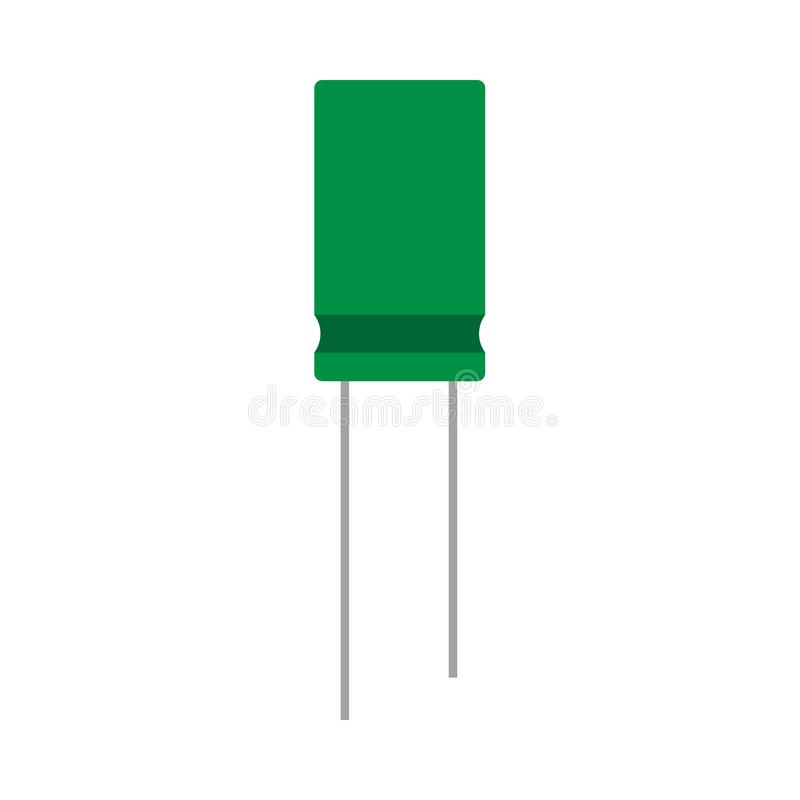 Capacitor green electrical closeup network circuit element vector icon. Computer repair microchip system vector illustration