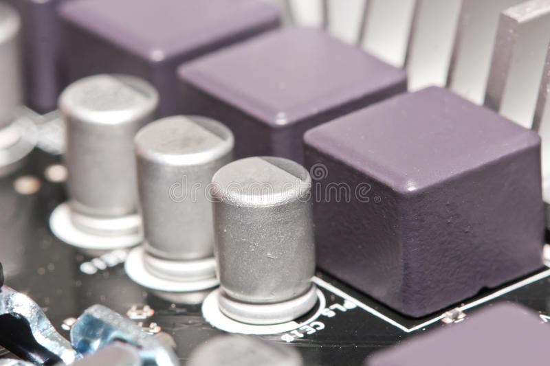 Capacitor semiconductor components stock photography