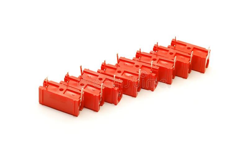 Capacitores vermelhos isolados foto de stock royalty free