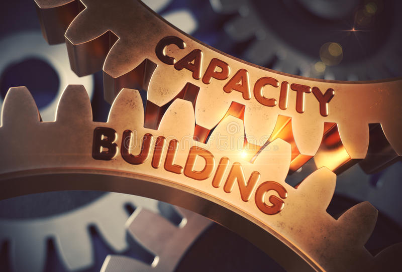 Capacity Building Concept. Golden Gears. 3D Illustration. Capacity Building - Industrial Illustration with Glow Effect and Lens Flare. Capacity Buildingon the vector illustration