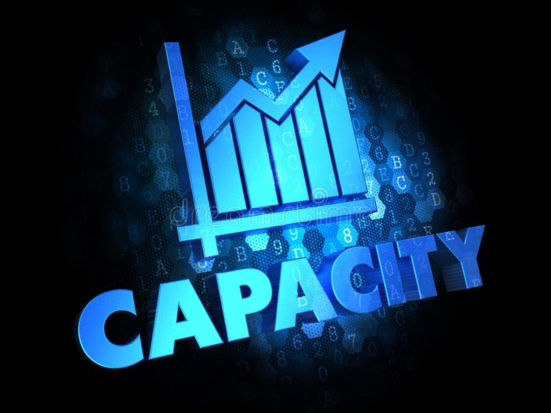 Capacity Concept on Dark Digital Background. Capacity with Growth Chart - Blue Color Text on Dark Digital Background royalty free illustration