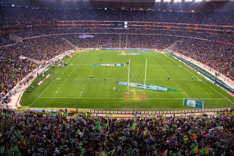 Capacity crowd at the FNB Stadium, Johannesburg stock photography