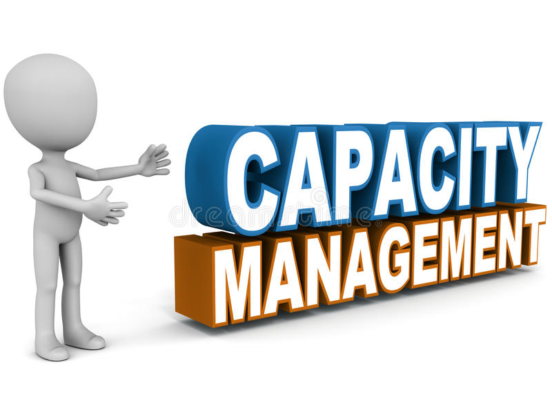 Capacity management. Words presented by a little man, business concept of capacity mgt stock illustration