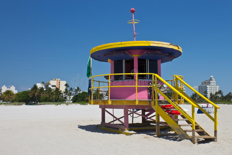 Capanna del sud del bagnino della spiaggia a Miami, Florida immagini stock