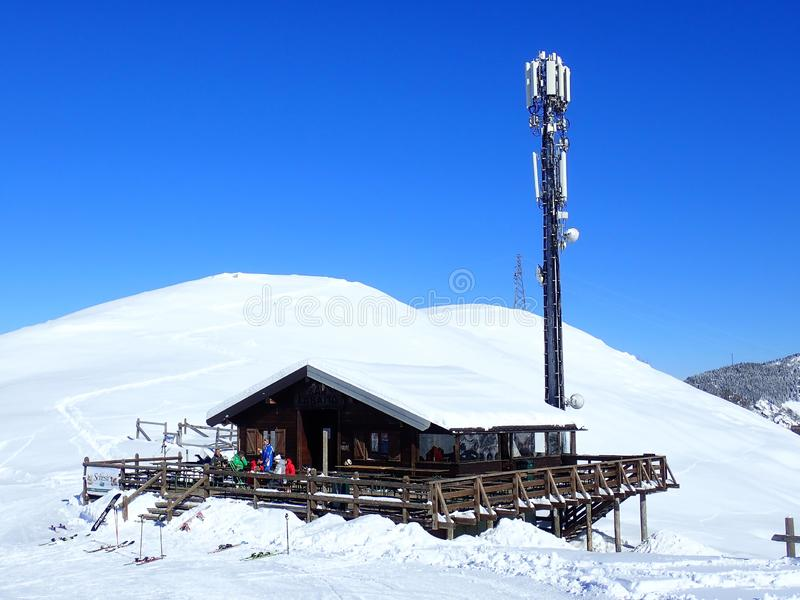Capanna dello sci di Baita della La di Antivari, 12083 Frabosa Sottana fotografia stock libera da diritti