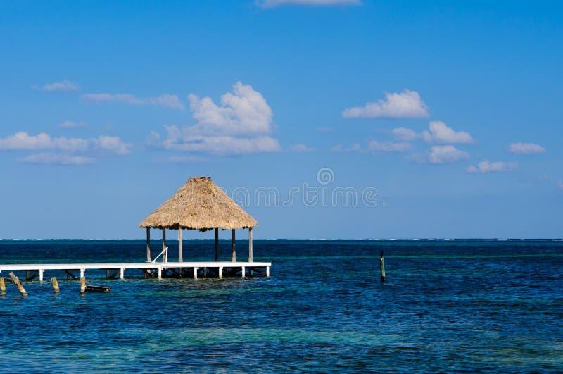 Capanna e bacino di Palapa sull'oceano fotografie stock libere da diritti