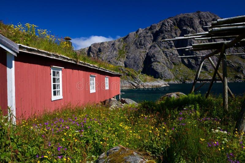 Capanna norvegese di pesca di rorbu fotografie stock libere da diritti