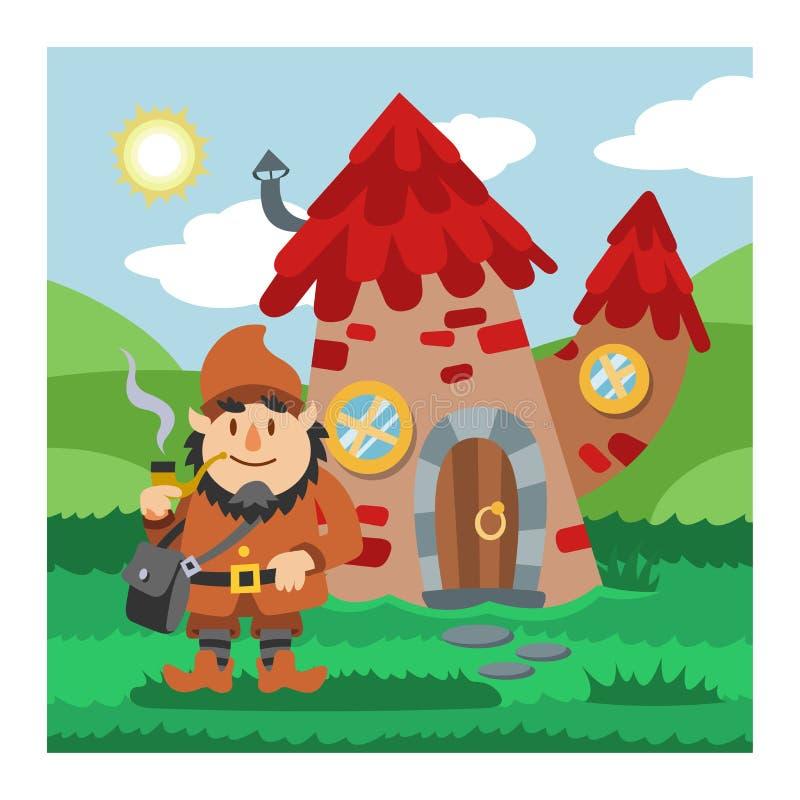 Capanna sugli'alberi leggiadramente del fumetto di vettore della casa di gnomo di fantasia ed insieme d'abitazione magico dell'il illustrazione vettoriale