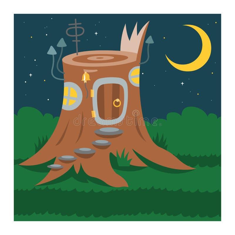 Capanna sugli'alberi leggiadramente del fumetto di vettore della casa di gnomo di fantasia ed insieme d'abitazione magico dell'il illustrazione di stock