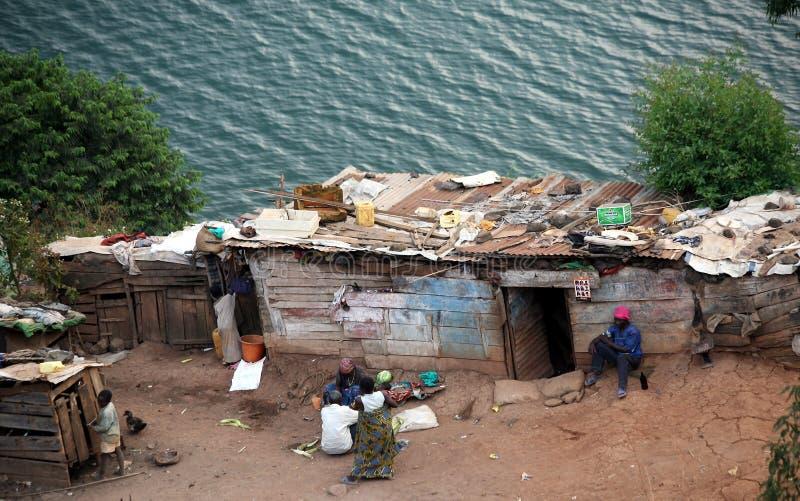 Capanna sul lago Kivu immagine stock libera da diritti