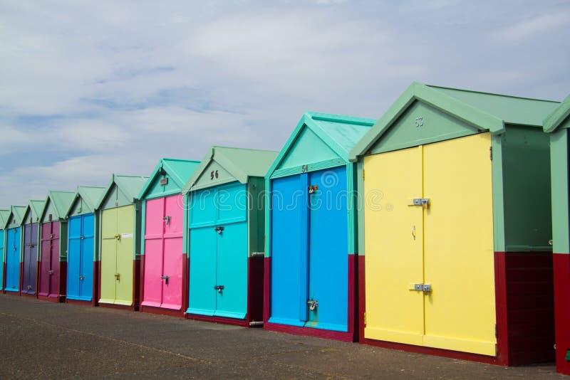 Capanne della spiaggia di Brigton, Inghilterra, Regno Unito fotografia stock libera da diritti