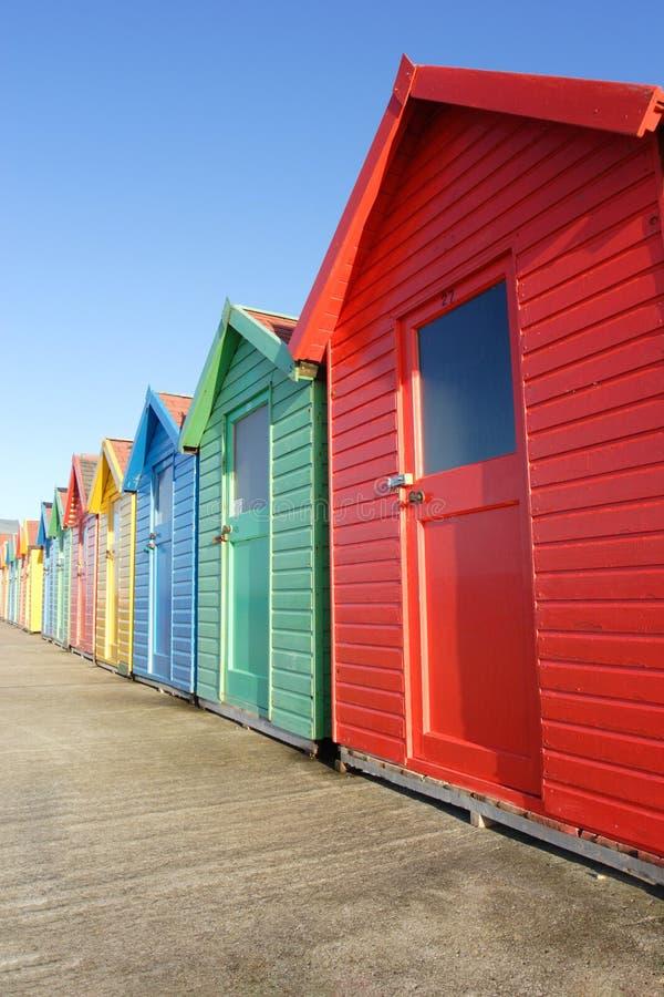 Capanne della spiaggia, Whitby fotografia stock libera da diritti