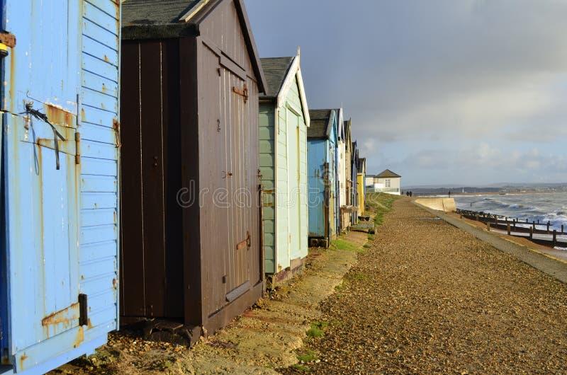 Capanne litoranee della spiaggia (colore) fotografia stock libera da diritti