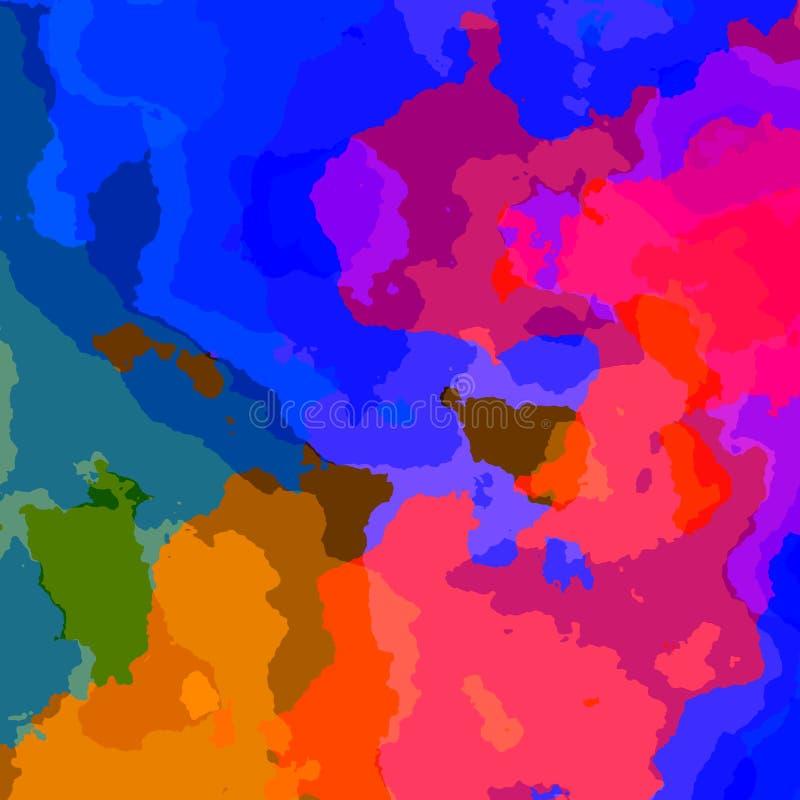 Capas coloridas del fractal Tinte del agua Color azul rosado Parte posterior enrrollada del teléfono móvil Mapa artístico plano P stock de ilustración