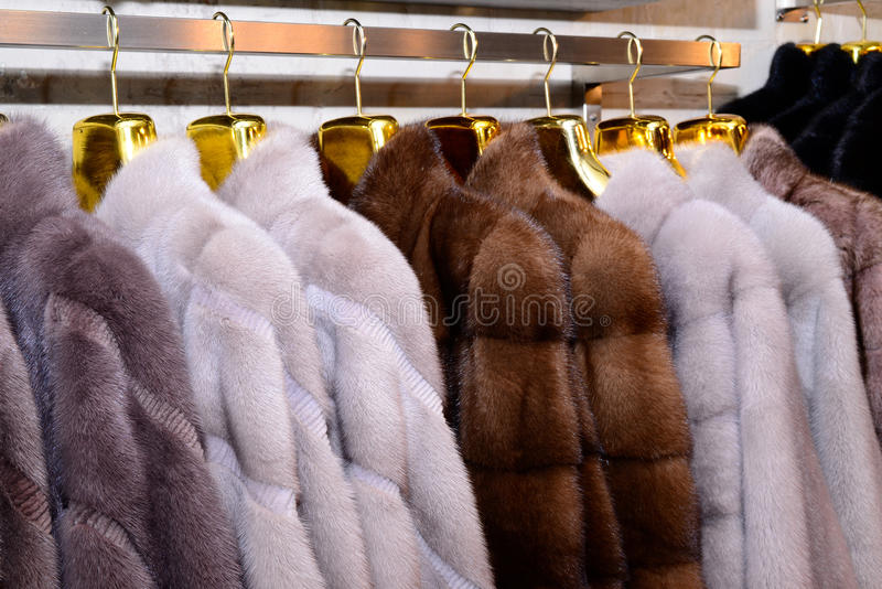 Capas de visión de lujo Gris, marrón, abrigos de pieles del color de la perla en el escaparate del mercado El mejor regalo para l imágenes de archivo libres de regalías