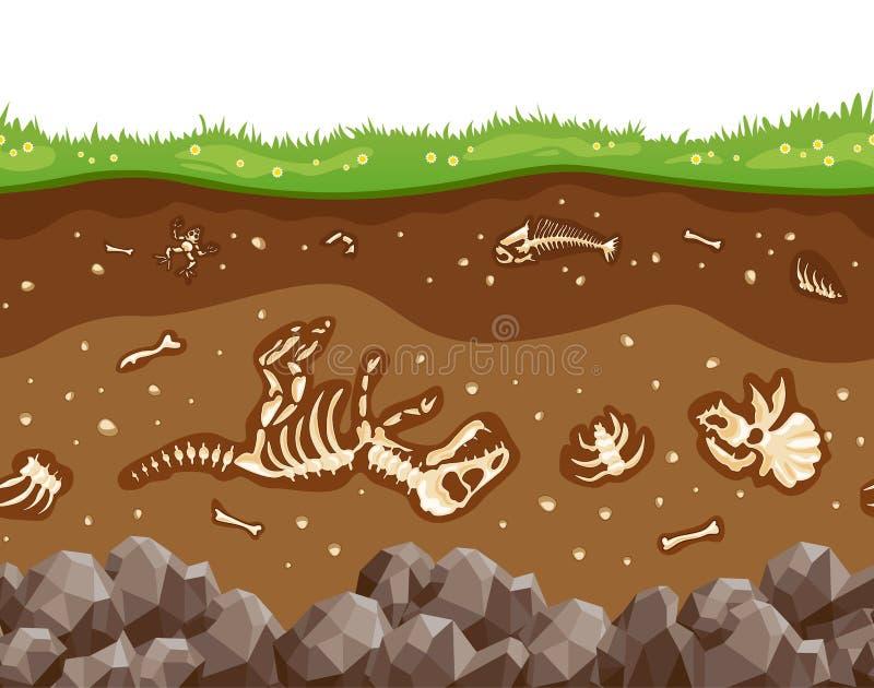 Capas del suelo con los huesos ilustración del vector