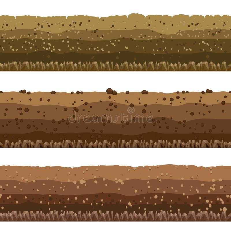 Capas del suelo fijadas stock de ilustración