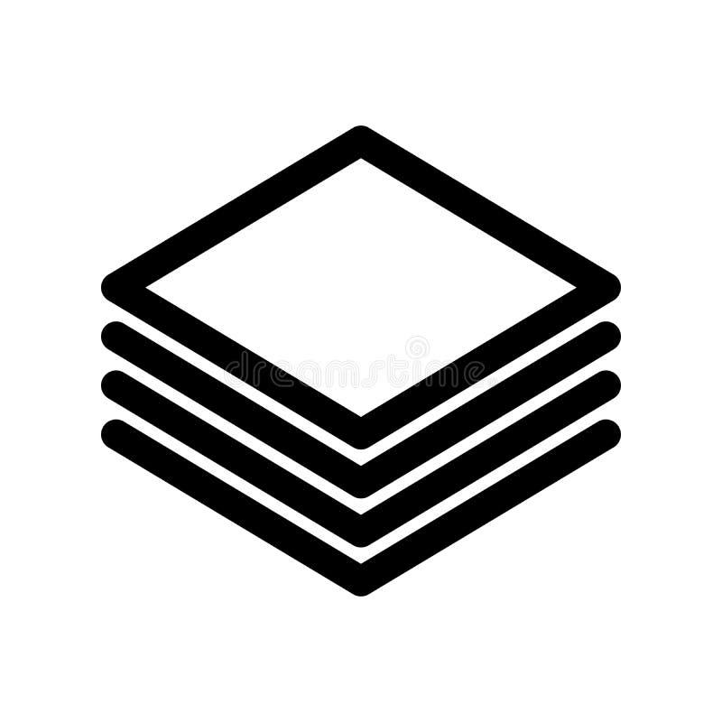 Capas o pila de icono de los papeles Elemento del diseño moderno del esquema Muestra plana negra simple del vector con las esquin libre illustration