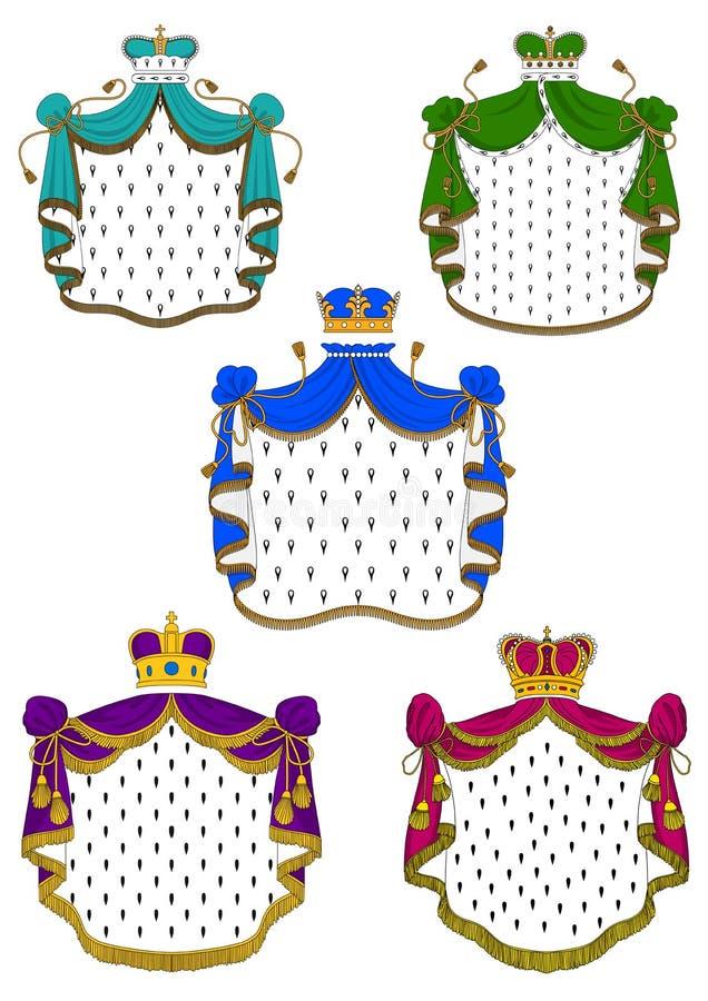 Capas y coronas reales ceremoniales coloridas stock de ilustración