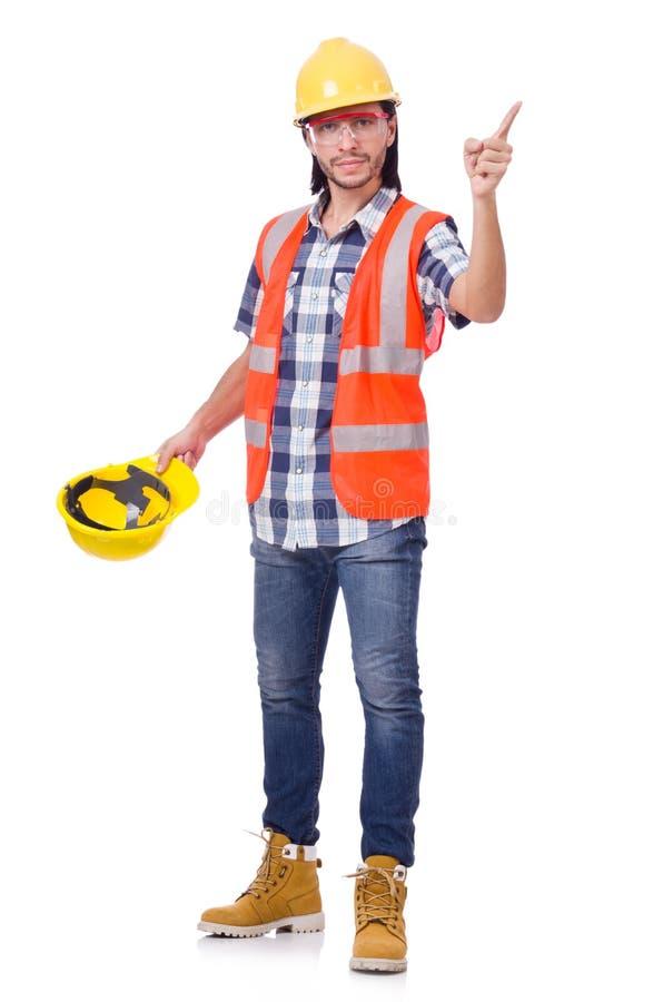 Capataz con el casco amarillo aislado en el blanco imagen de archivo