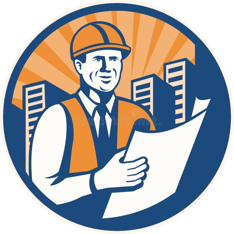 Capataz del arquitecto del ingeniero de construcción retro stock de ilustración