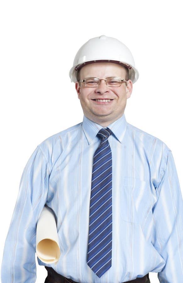 Capataz en un casco blanco con un dibujo fotos de archivo libres de regalías