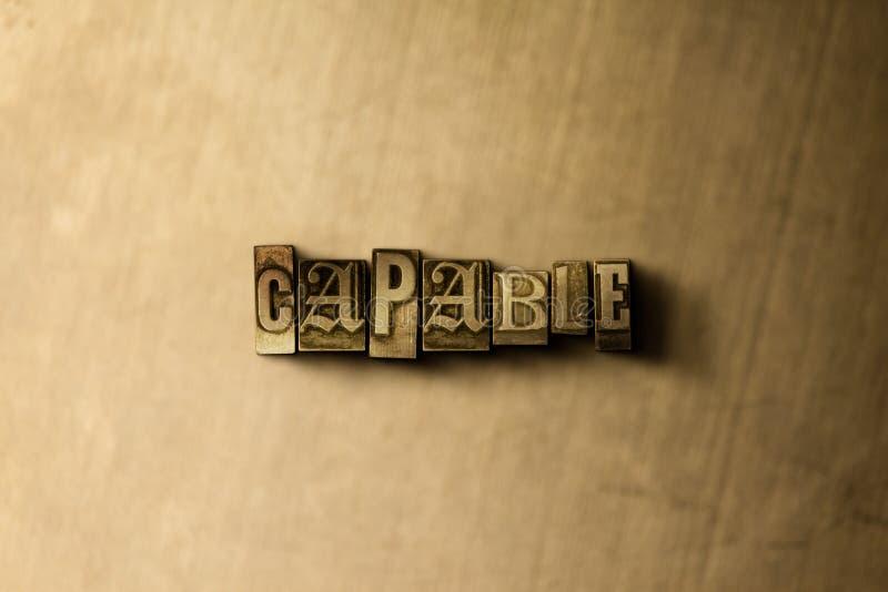 CAPAZ - o close-up do vintage sujo typeset a palavra no contexto do metal ilustração royalty free