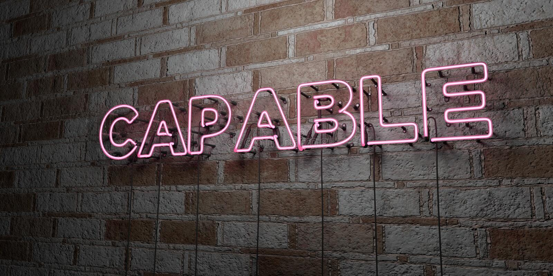CAPAZ - Sinal de néon de incandescência na parede da alvenaria - 3D rendeu a ilustração conservada em estoque livre dos direitos ilustração do vetor
