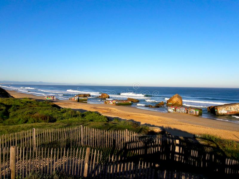 Capbreton beach bunkers. From The Second World War royalty free stock photography