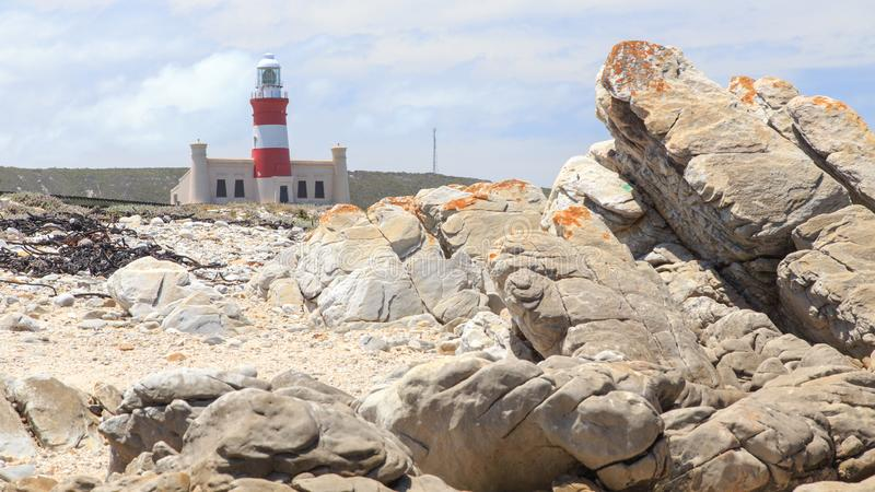 Lighthouse Cape Agulhas in South Africa. The Cape Agulhas lighthouse is situated at the southern most tip of Africa, built in the 1848. The lighthouse was built royalty free stock images