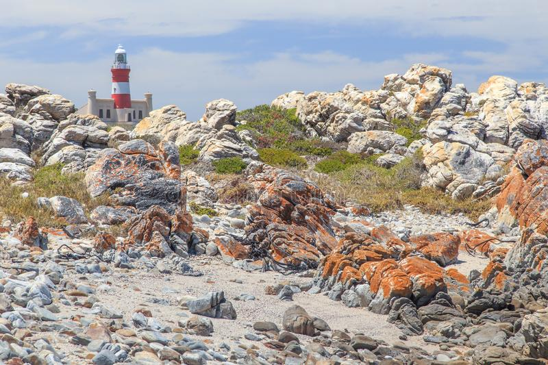 Lighthouse Cape Agulhas in South Africa. The Cape Agulhas lighthouse is situated at the southern most tip of Africa, built in the 1848. The lighthouse was built stock images