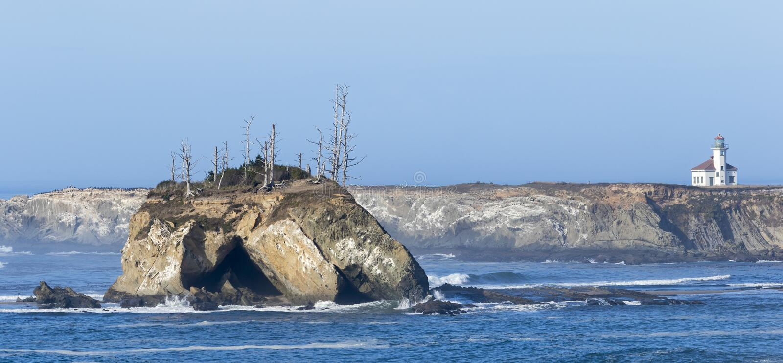 Cape Arago Lighthouse. The Cape Arago Light is a lighthouse located in Charleston, Oregon stock photos