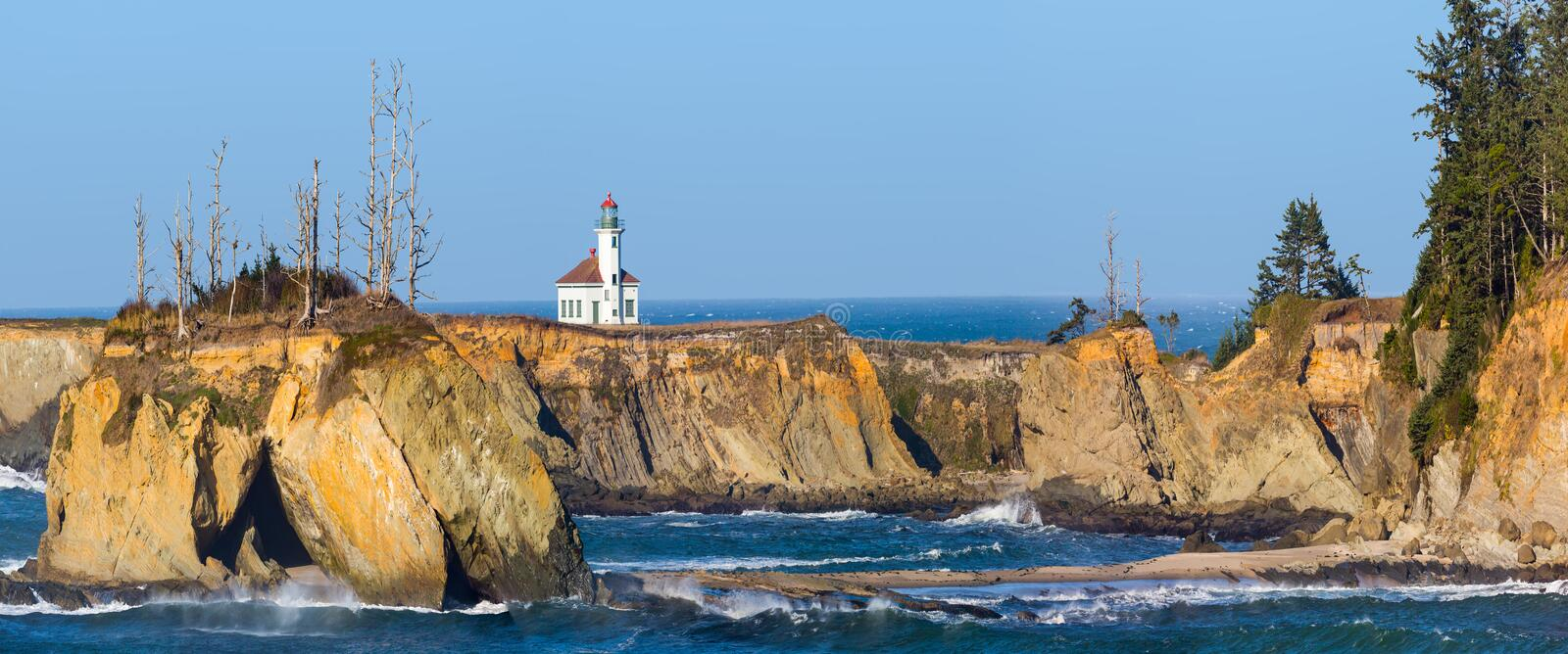 Cape Arago Lighthouse. From South Sunset Beach Overlook, Oregon royalty free stock photo